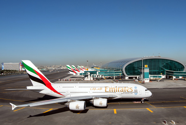 Emirates A380 at the DXB Hub (Emirates)(LRW)