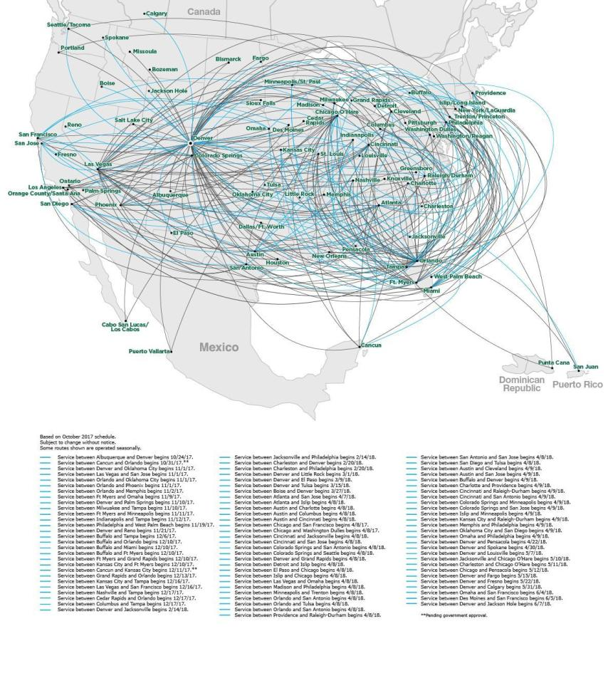 frontier airlines 12.2017 route map | world airline news