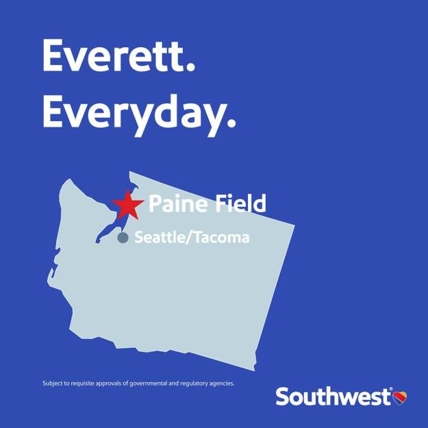 Southwest airlines is coming to paine field in everett wa world southwest will later disclose the destinations which are likely to be along the west coast malvernweather Image collections