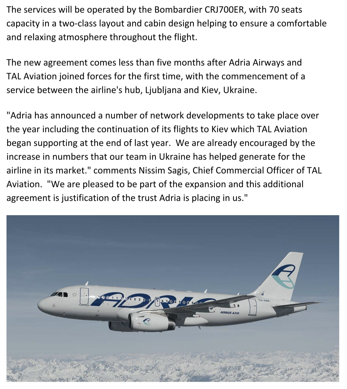 Adria Airways And Tal Aviation Expand Into The Romanian And