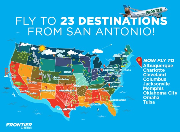 Frontier Adds Nine New Routes From San Antonio Quantum