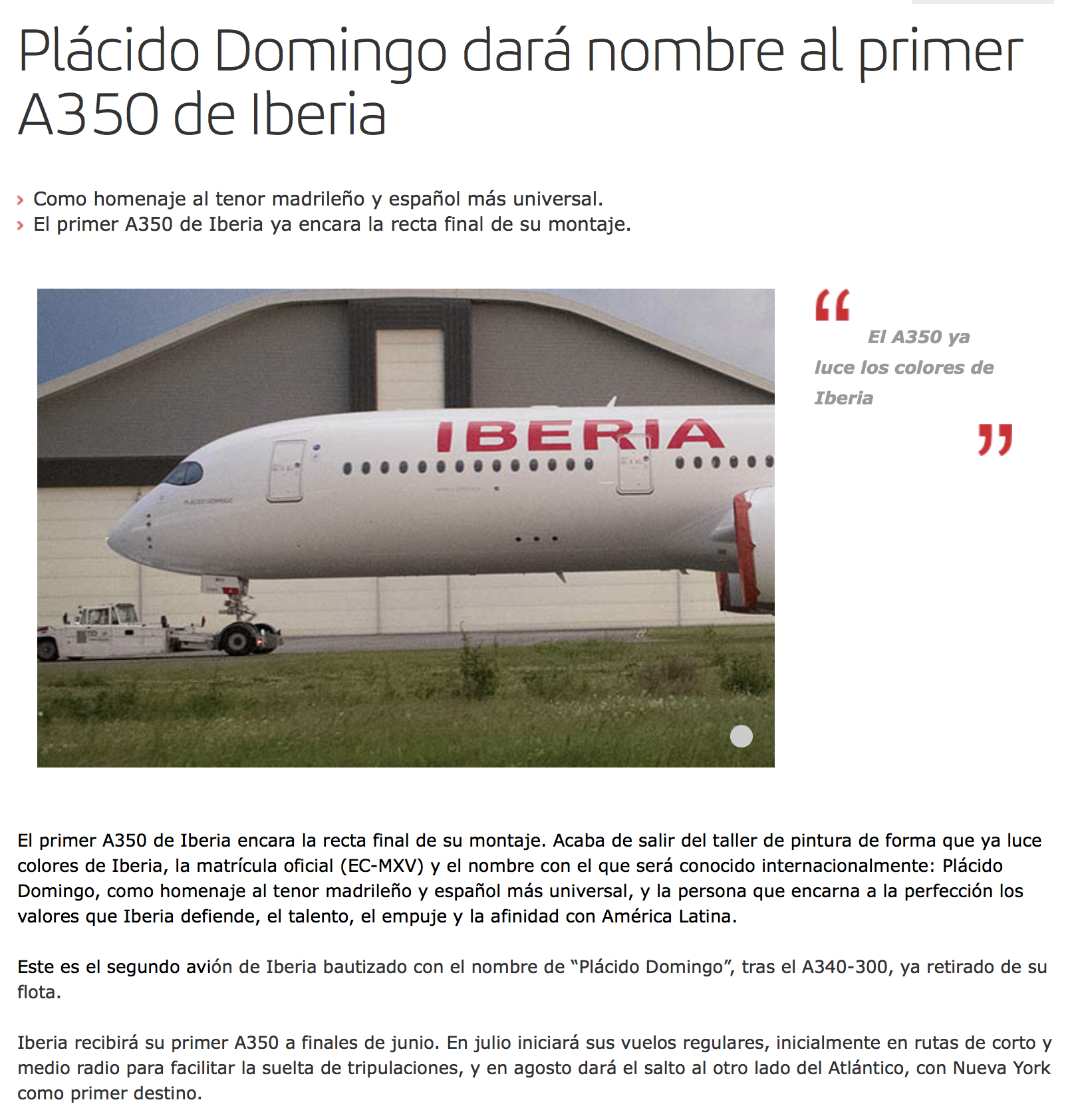 The first Airbus A350-900 for Iberia is painted | World Airline News