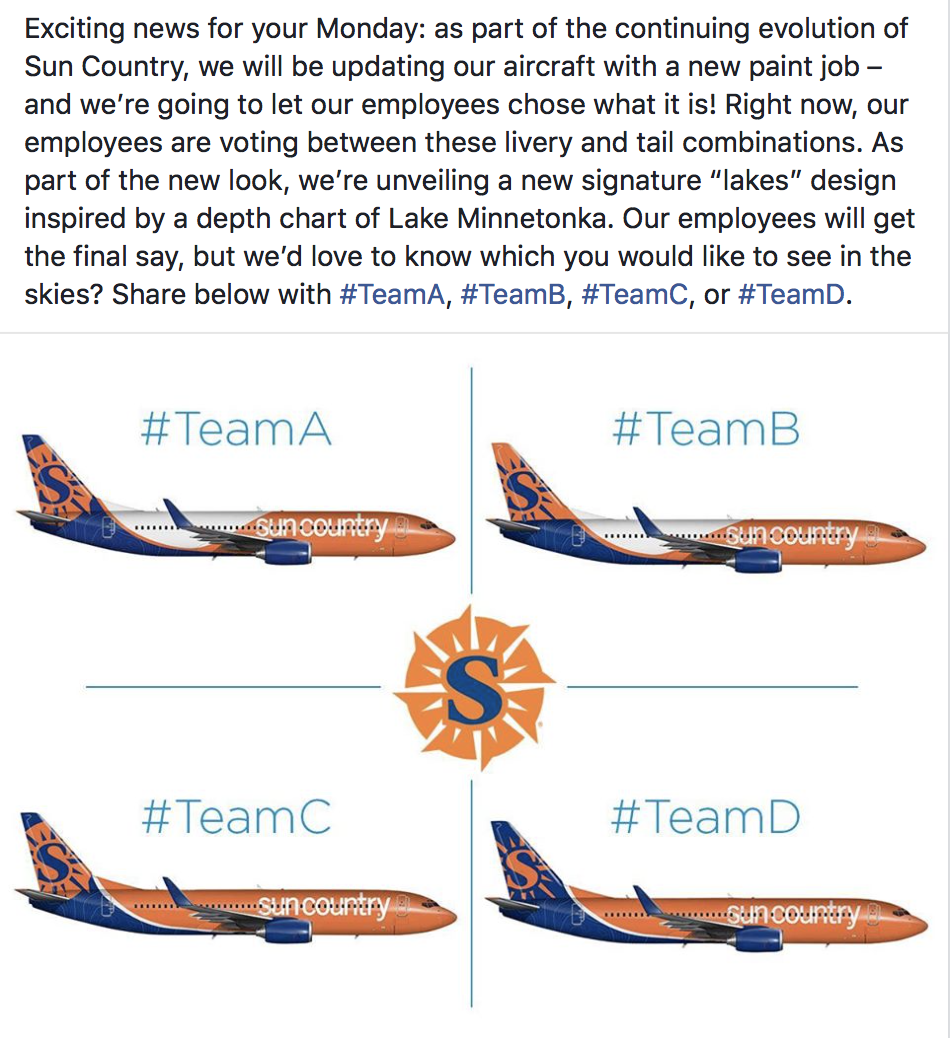 Sun Country Asks Its Employees To Vote On A New Livery