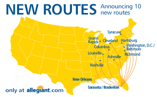 Allegiant To Add 9 New Routes From Sarasota Bradenton