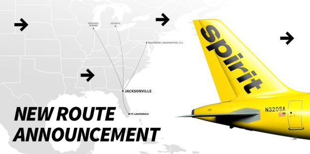 spirit airlines adds more routes from jacksonville world airline news