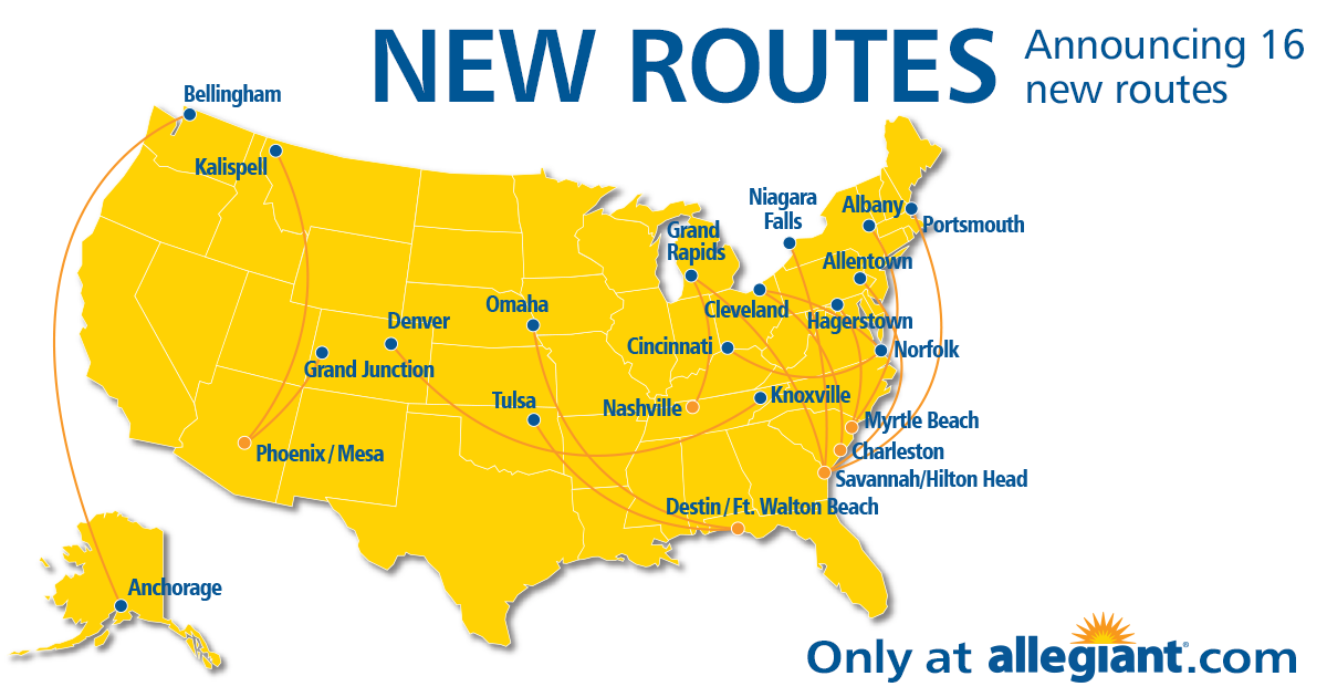 Allegiant Adds 16 New Routes Including Anchorage Alaska