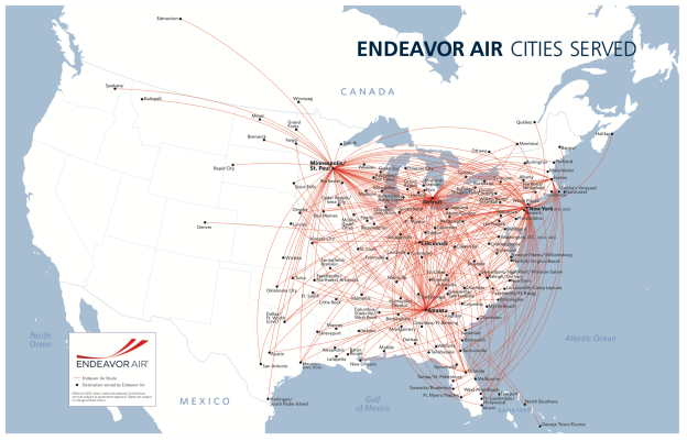 Endeavor Air Route Map Endeavor Air | World Airline News