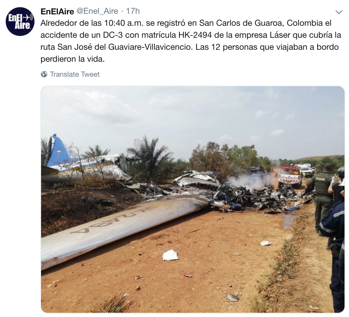 Laser A 233 Reo Colombia Douglas Dc 3 Crashes In Colombia